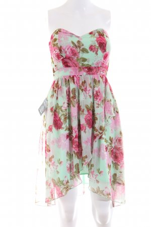 NLY One Bandeaukleid grün-pink Blumenmuster Elegant