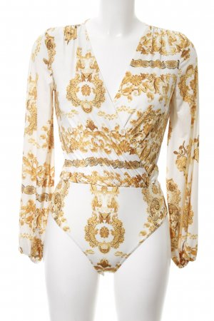 NLY One Bodyblouse wit-licht Oranje abstract patroon elegant
