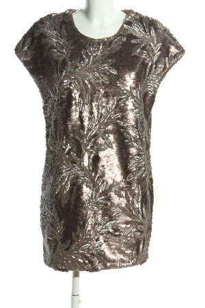 NLY Abito con paillettes bronzo motivo floreale stile stravagante