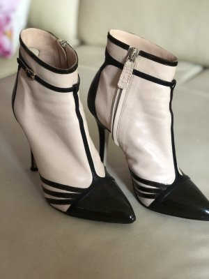 No. 21 Zipper Booties black-cream leather