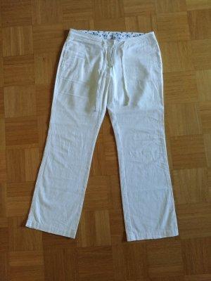 Pantalón de lino blanco tejido mezclado