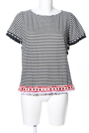 No-Na T-Shirt weiß-schwarz Streifenmuster Casual-Look