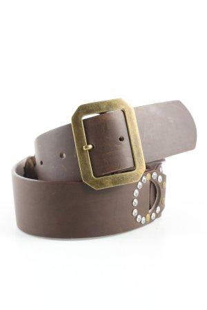no name Cinturón de cuero marrón look efecto mojado