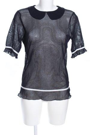 no name Transparenz-Bluse schwarz-weiß Casual-Look