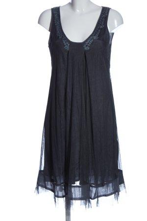 Noa Noa A-Linien Kleid blau Schriftzug gestickt Casual-Look
