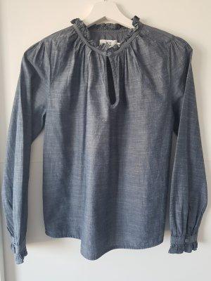 NOA NOA Bluseshirt, mit Rüschen, Jeansbluse, blau, Gr.34, Baumwolle