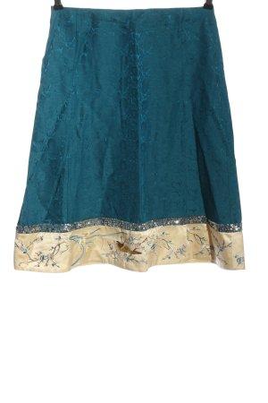 Noa Noa Glockenrock blau-creme Blumenmuster Elegant