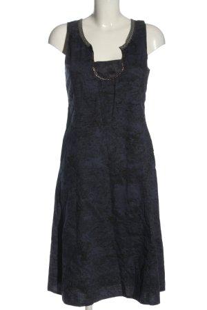 Noa Noa Midikleid schwarz-blau Allover-Druck Casual-Look