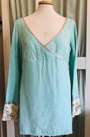 Noa Noa Kimono blouse turkoois Zijde