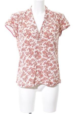Noa Noa V-Ausschnitt-Shirt weiß-rot abstraktes Muster Casual-Look