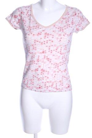 Noa Noa V-Ausschnitt-Shirt weiß-rot Allover-Druck Casual-Look