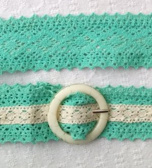 Noa Noa Cinturón de tela turquesa-blanco puro Algodón