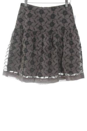 Noa Noa Falda con volantes negro-gris antracita estampado floral estilo clásico