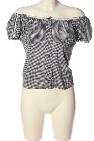 Nockstein Trachten Blusa tradizionale nero-bianco stampa integrale elegante
