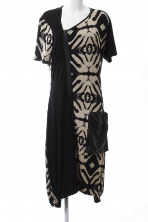 NÖR Denmark Stretchkleid schwarz-creme abstraktes Muster Casual-Look