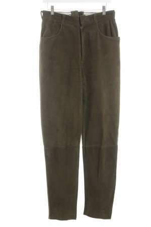 Nohstadt & Co Pantalon traditionnel en cuir vert olive Ornements brodés