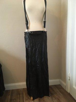 Noir Handmade Falda de cuero de imitación negro-color plata