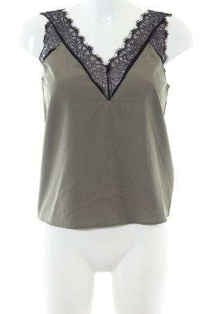 Noisy May ärmellose Bluse khaki-schwarz Elegant