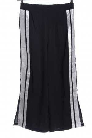 Noisy May Pantalone culotte nero-argento motivo a righe stile casual