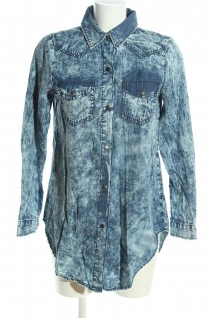 Noisy May Jeanshemd blau-wollweiß Allover-Druck Casual-Look