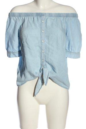 Noisy May Kurzarm-Bluse blau Casual-Look