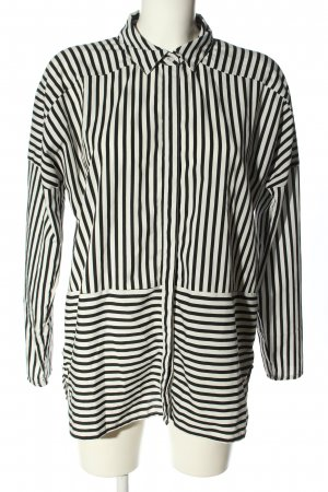 Noisy May Langarm-Bluse schwarz-weiß Streifenmuster Business-Look