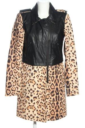 Noisy May Lange Jacke wollweiß-schwarz Leomuster Elegant