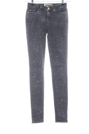 Noisy May Slim Jeans hellgrau-weiß Punktemuster Casual-Look
