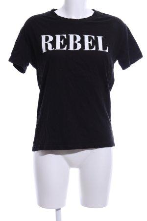 Noisy May T-Shirt schwarz-weiß Schriftzug gedruckt Casual-Look
