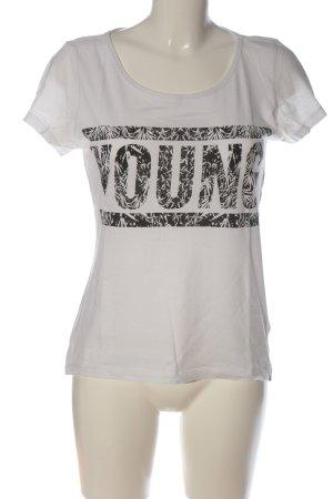 Noisy May T-Shirt weiß-schwarz Schriftzug gedruckt Casual-Look