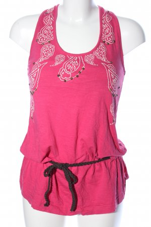 Noka'oi Long Top pink-white flower pattern casual look