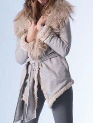 Nolita Chaqueta de piel gris claro-blanco puro