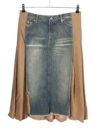 Nolita Falda midi marrón-azul look casual