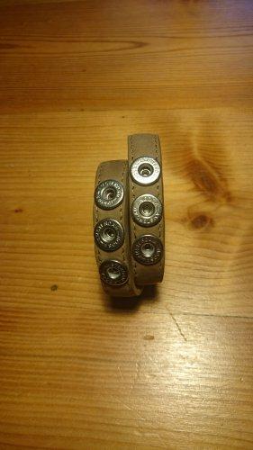 Noosa Amsterdam Bracelet en cuir gris brun cuir
