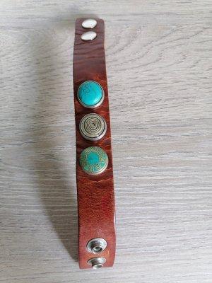 Noosa Amsterdam Brazalete de cuero marrón-azul claro