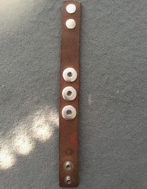 Noosa Bracelet en cuir brun-argenté