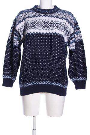 Nordstrikk Maglione norvegese bianco-blu motivo grafico stile casual