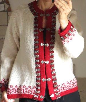 Vintage Cardigan norvégien crème-rouge foncé laine vierge