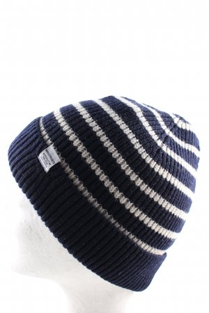 Norse Projects Gorro tejido azul-blanco estampado a rayas look casual