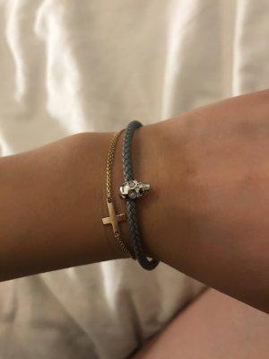 Northskull London Bracelet en cuir argenté-gris