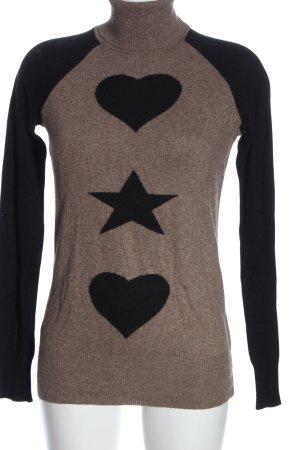 Northland Jersey de cuello alto marrón-negro moteado look casual