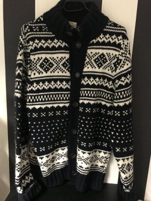 Norwegian Cardigan dark blue-white wool