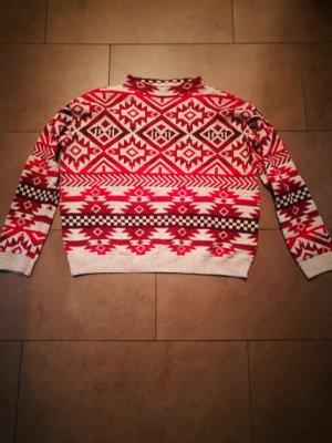 H&M L.O.G.G. Norwegian Sweater cream-red