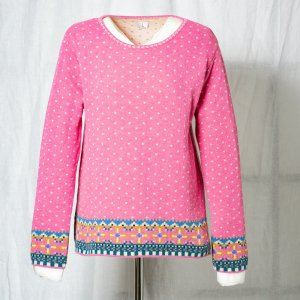 LILAland Norwegian Sweater neon pink-pink wool