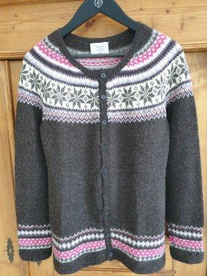 Handmade Norweska dzianinowa kurtka antracyt-różowy