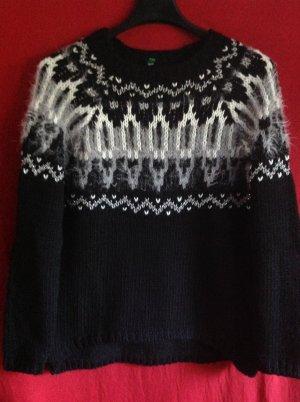 Benetton Norwegian Sweater black-white mixture fibre