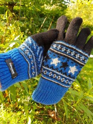 Norweger Warm gefütterte Thinsulate Strick Handschuhe Royal Blau Schwarz Gr. S - 5/6 aus Shetland Wolle