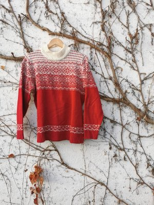 keine Marke Norwegian Sweater red-white