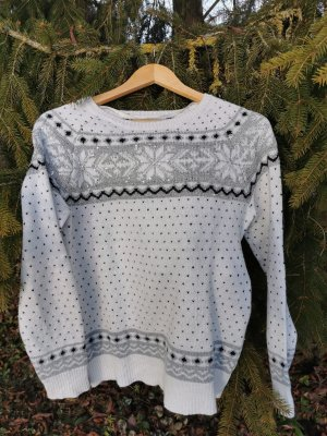 keine Marke Norwegian Sweater white-pale blue