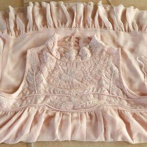 Nostalgie Sommer Kleid Vintage Empire Volant Spitzen Häkelspitze Spitze rosé Empire Kleid Gr. 44 rosé